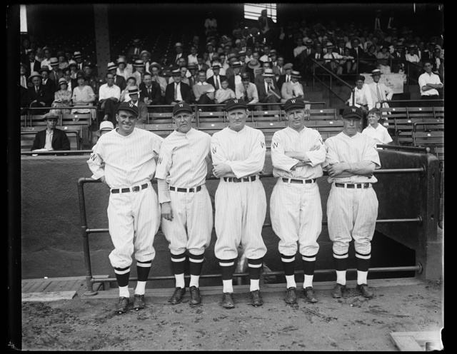[Washington baseball; Walter Johnson, center]