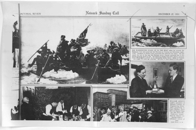 [A photostatic (positive) reproduction of a portion of the pictorial review section of the Newark Sunday Call of December 27, 1931, showing the famous painting of Washington crossing the Delaware River, and a sketch by a Newark Sunday Call artis