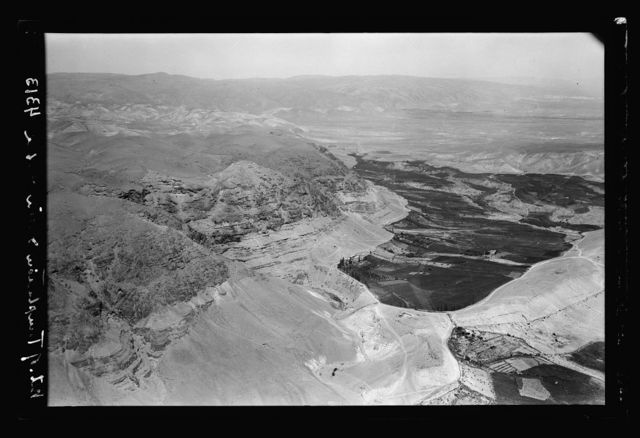 Air views of Palestine. Air route following the old Jerusalem-Jericho Road. Mount of Temptation and gardens of Ain Duke. Western edge of Jericho plain