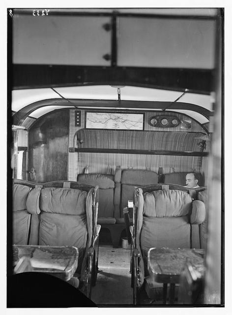 Air views of Palestine. Aircrafts etc. of the Imperial Airways Ltd., on the Sea of Galilee and at Semakh. Flying boats's passenger cabin. Luxurious interior