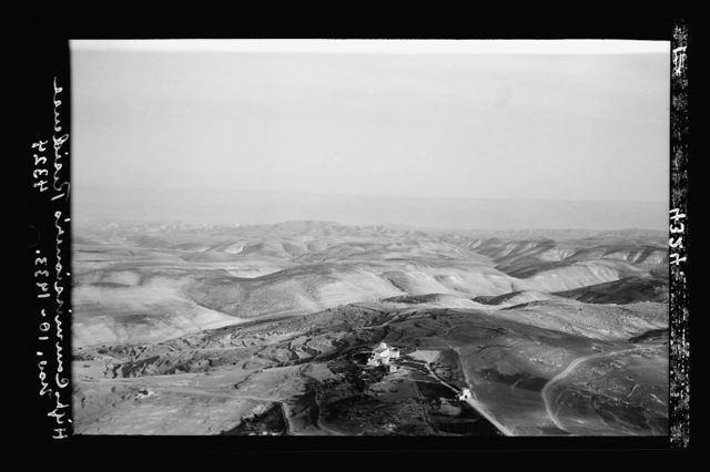 Air views of Palestine. Jerusalem from the air (The Old City). Jerusalem. Government House. Wilderness of Judea. Looking east
