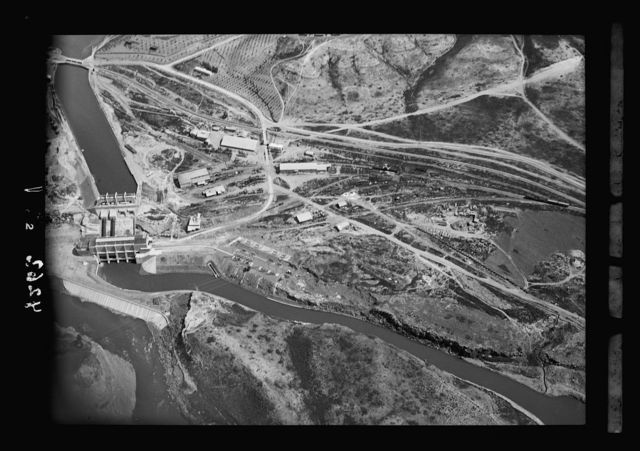 Air views of Palestine. Palestine Electric Corporation Establishment (P.E.C.) The Rutenberg Hydro-Electric Works at Jisr Majamieh. The P.E.C. works. Lower section. Head-race canal, power plant, tail-race canal, and work shops