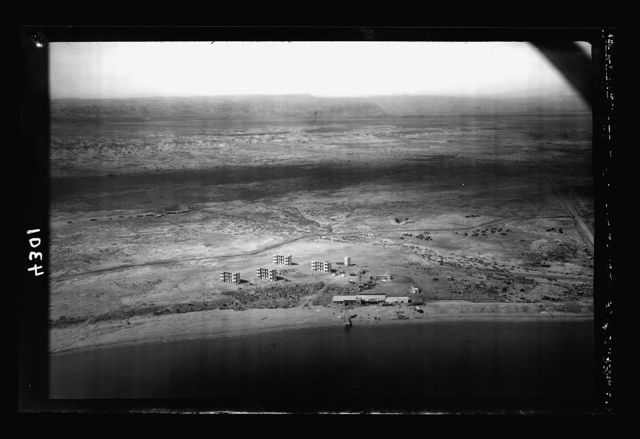 Air views of Palestine. The Palestine Potash Works. On N. shore of the Dead Sea. Palestine Potash Plant. Workers' apartments near Kallia health resort