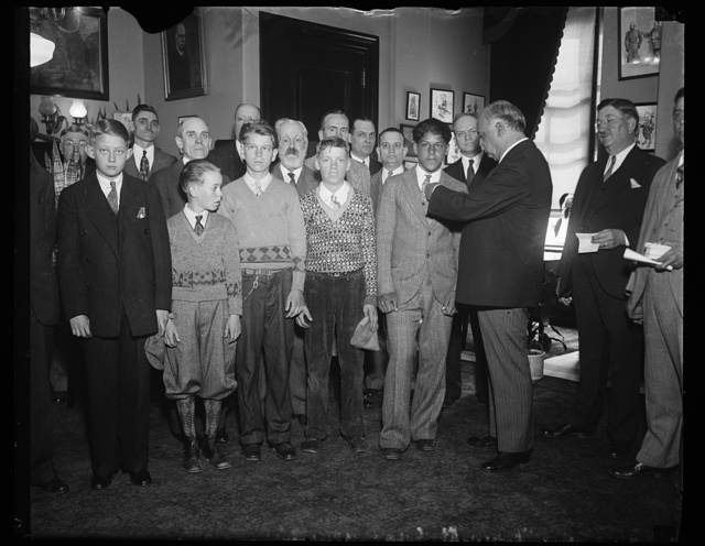 [Charles Curtis and group of men and boys]