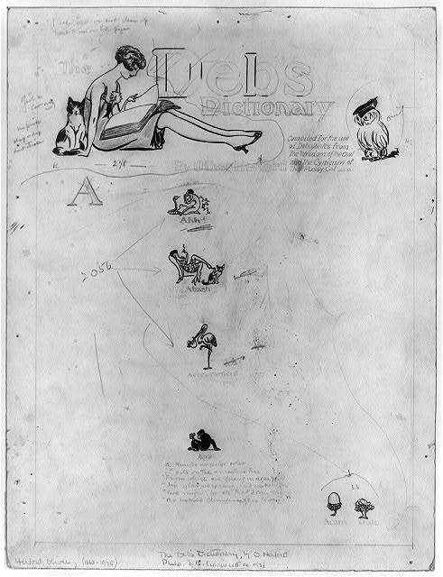 [Debutante reading with cat and owl:] ahh, abash, accouchment, ape, acorn, oak