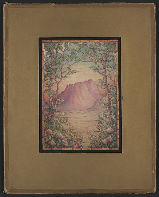 [Design drawing for stained glass window in American-style with pastel-colored landscape with mountains; gold mat]