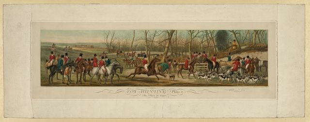 Fox hunting, plate 1--. The meet at Cover / drawn by Henry Alken ; engraved by Eugene Tily.