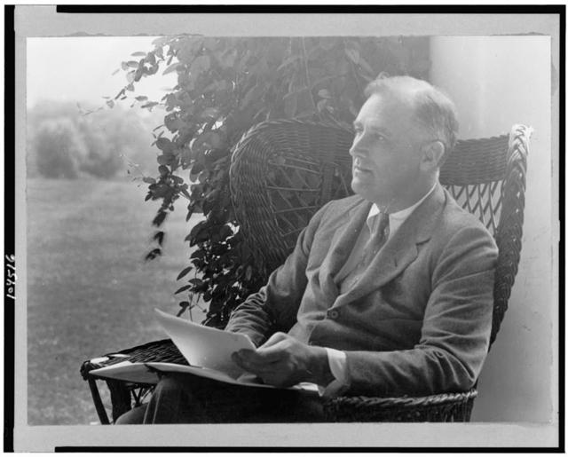 [Franklin D. Roosevelt, three-quarter length portrait, seated, facing left]