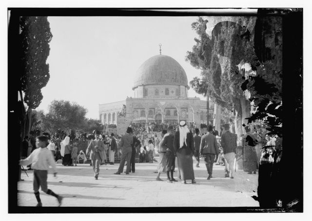 Funeral of King Hussein, Jerusalem, Mosque of Omar [i.e., Dome of the Rock]