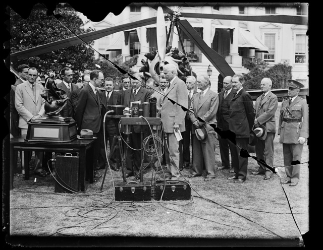 [Group, with Hiram Bingham, center, and instruments near aircraft at White House, Washington, D.C.]