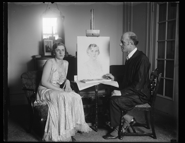 Helen Eames Doherty with portrait artist