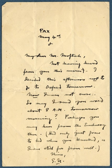 Letter from Ernest Newlandsmith to Ragheb Moftah, May 4, [1931]