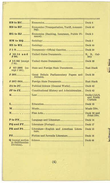 ... Location of classes. [Washington, D. C., U. S. Government Printing Office, 1931].