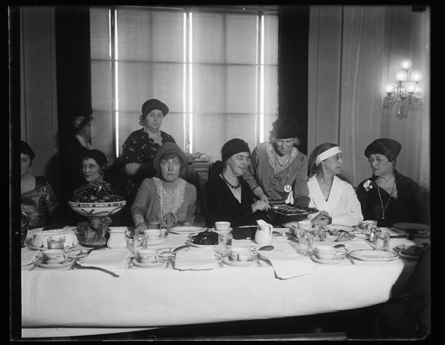 Mrs. Hoover guest of senatorial ladies. One of the outstanding social affairs of the Capital this week was the Senate Ladies Luncheon, at which Mrs. Hoover was the guest of honor. In the photograph, left to right; Mrs. Claude Swan