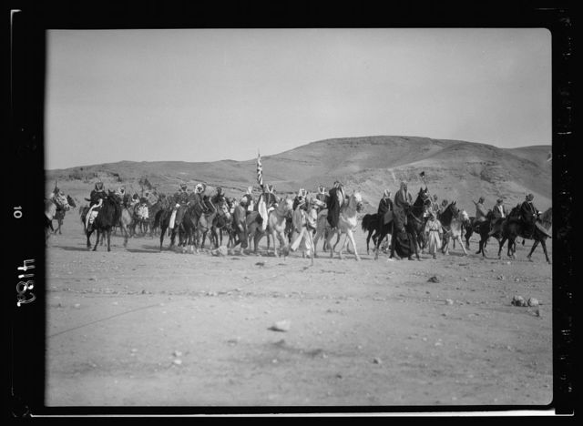 Pan-Islamic conference gathers at Shunet Nimrin, Transjordan. Closer view of the royal cavalcade. King Ali and Emir Abdullah