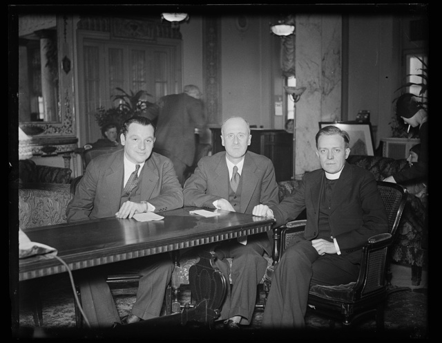 Protestant, Catholic, and Jewish leaders meet in Washington to assist jobless. The problem of unemployment is not only economic, but ethical and moral as well, and responsibility for its solution rests upon the whole American people. President Hoover was advised today by a delegation representing three national church groups sponsoring the National Conference on Permanent Preventives of Unemployment, meeting in Washington this week. Heading the delegation to the White House were, left to right: Rabbi Edward L. Israel, chairman of the Social Justice Commission, Central Conference of American Rabbis; Rev. R.A. McGowan, of the social action department, National Catholic Welfare Conference; and James Myers, Industrial Secretary, Social Service Commission, Federal Council of Churches, 1/27/31