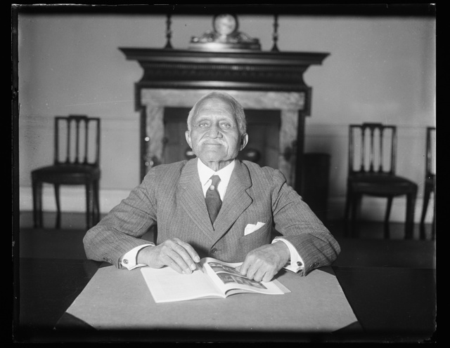 Requires legislation to keep his job. Eddie Augustine Savoy, 85-year-old negro who is rounding out 60 years service in the State Department, will not be retired because of old age of Secretary Stimson's recommendation is carried out. At Stimson's suggestion, Rep. Fish, whose grandfather, a former Secretary of State, gave Savoy work in 1871, will introduce a bill to permit Eddie to keep on working. His duties consist of announcing visitors who call upon the Secretary and he has acquired a remarkable memory for faces, names, and titles, 1/31