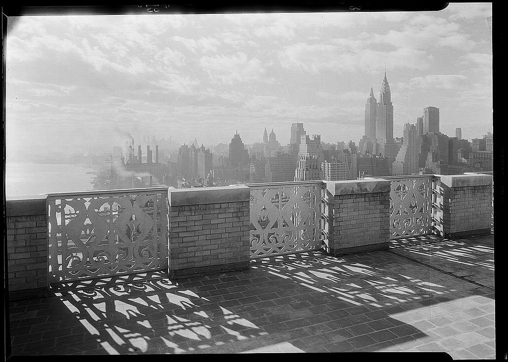 River House, 52nd St. and E. River, New York City. Parapet, 27th floor, against light