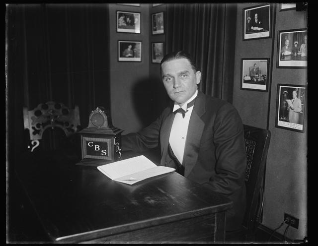 Sen. Gerald P. Nye at microphone-CBS