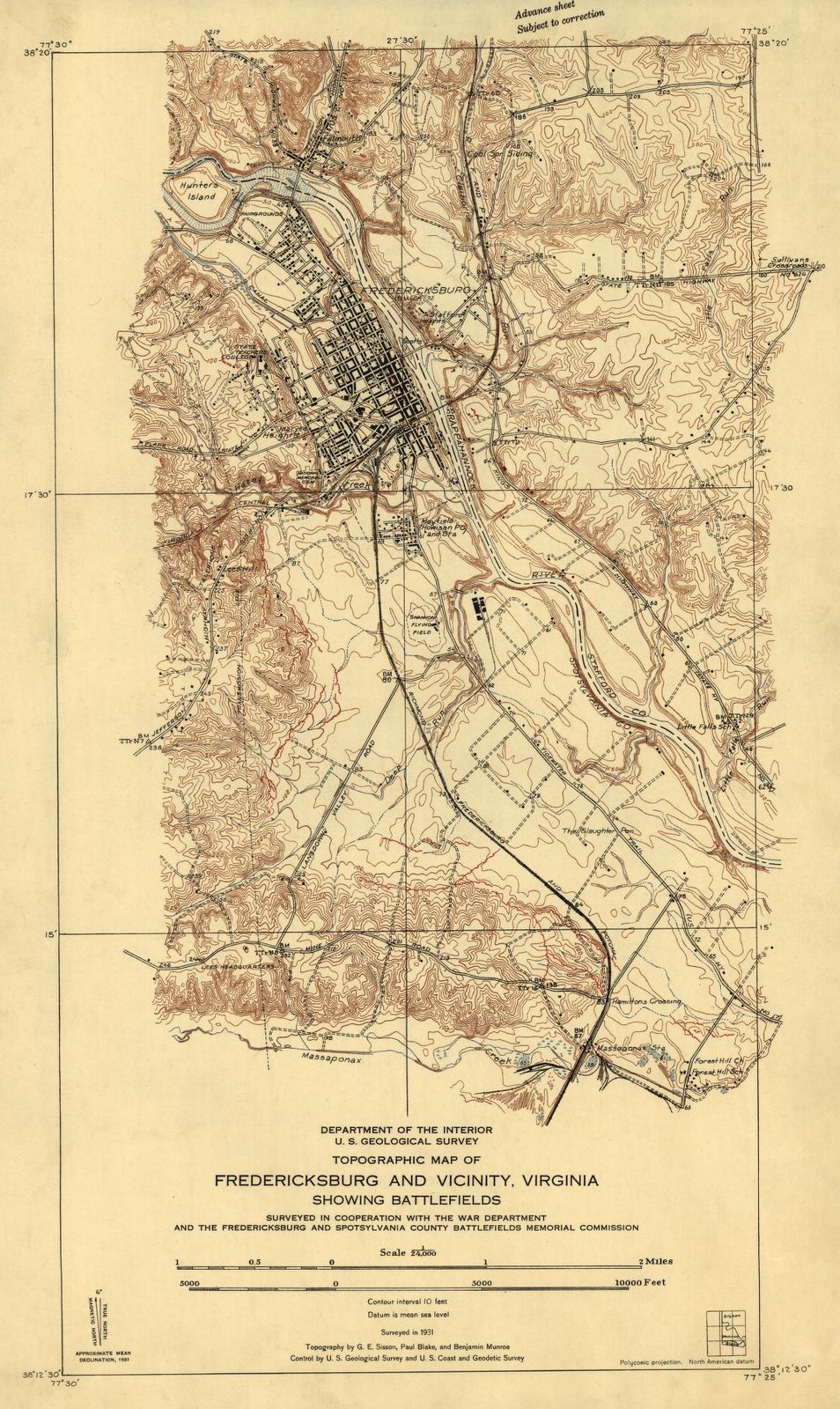 Topographic Map Of Fredericksburg And Vicinity Virginia Showing