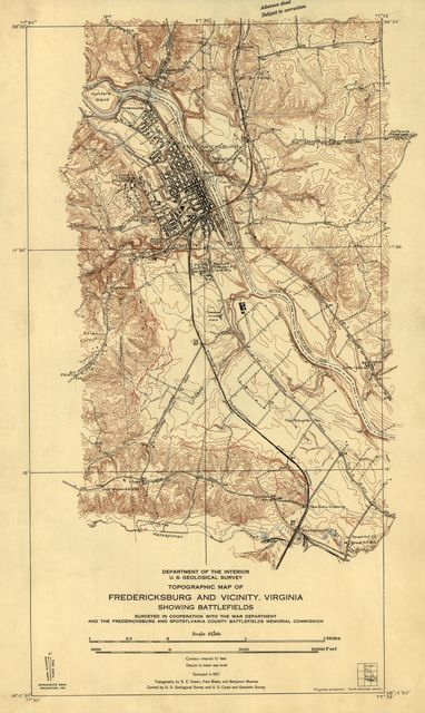 Topographic map of Fredericksburg and vicinity, Virginia, showing battlefields