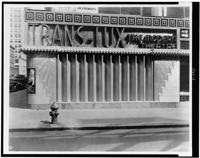 [Trans-Lux Theater, 58th St. and Madison Ave., New York City; side view of exterior]