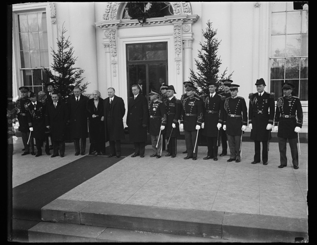 White House Aides with Pres. and Mrs. Hoover at White House, 1/1/31