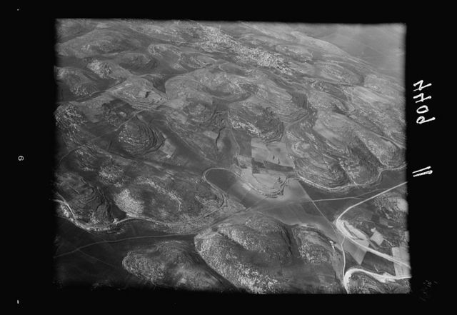 Air views of Palestine. Air route over Cana of Galilee, Nazareth, Plain of Sharon, etc. Hills of Samaria near Dothan showing narrow guage [i.e., gauge] railroad