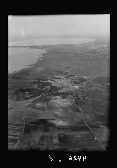 Air views of Palestine. Air route over Cana of Galilee, Nazareth, Plain of Sharon, etc. Ashdod. Home of Dagon. Encroaching sand waves in distance