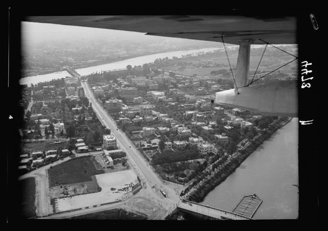 Air views of Palestine. Cairo and the pyramids. Cairo. El-Gezireh Island. At the Bulaq bridge. Sports ground in distance