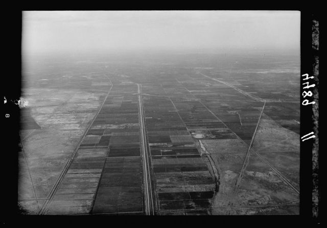 Air views of Palestine. Flight down the delta of the Nile to Alexandria. Delta of the Nile. Extensive view of fields and water canals giving a mosaic effect