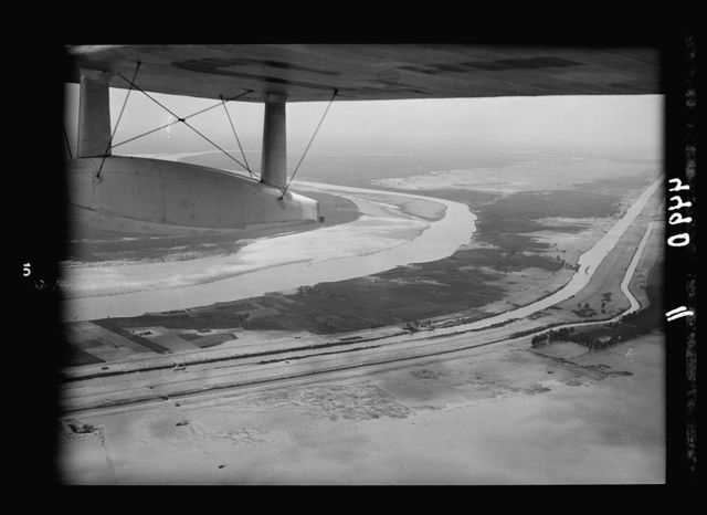 Air views of Palestine. Flight down the delta of the Nile to Alexandria. Irrigation canals and water ways of the Nile delta showing tiny sailboats