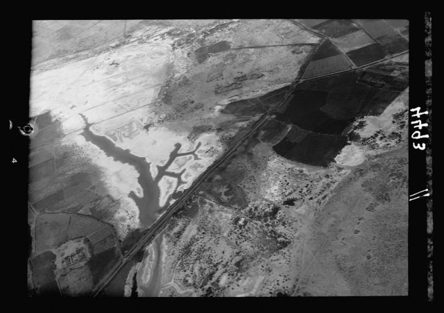 Air views of Palestine. Flight down the delta of the Nile to Alexandria. Salt deposits along the sea coast. Effect of a frozen sea