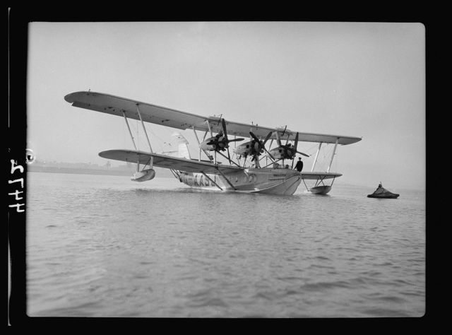 Air views of Palestine. Flight from Gaza to Cairo via Ismalieh. Flying boat on the Nile. Frontal view of aircraft ready to take off for the upper Nile