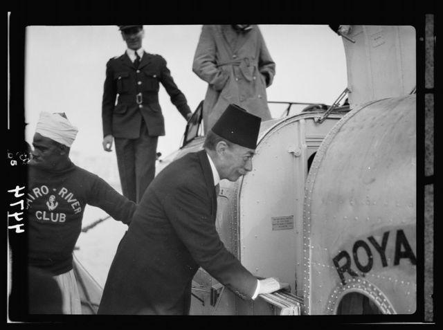 Air views of Palestine. Flight from Gaza to Cairo via Ismalieh. Zulficar Pasha, Grand Chamberlain to the King of Egypt. Bidding bon voyage to King Albert