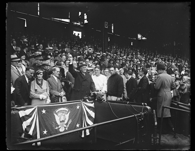 [Franklin D. Roosevelt at baseball game]