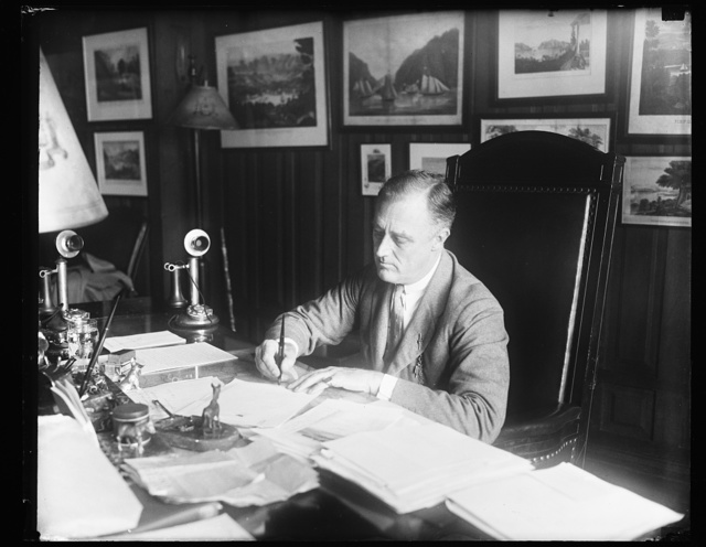 [Franklin D. Roosevelt at desk]