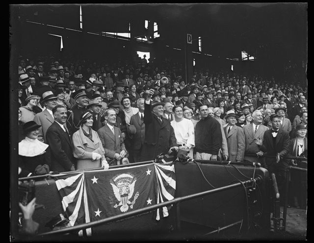 [Franklin D. Roosevelt throwing out ball at baseball game]