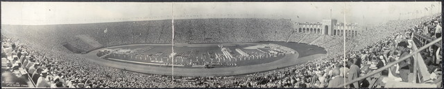 [General view of Los Angeles Olympic Stadium on the opening day of the Games of the Xth Olympiad, while contenders from all nations take the Olympic Athlete's Oath]