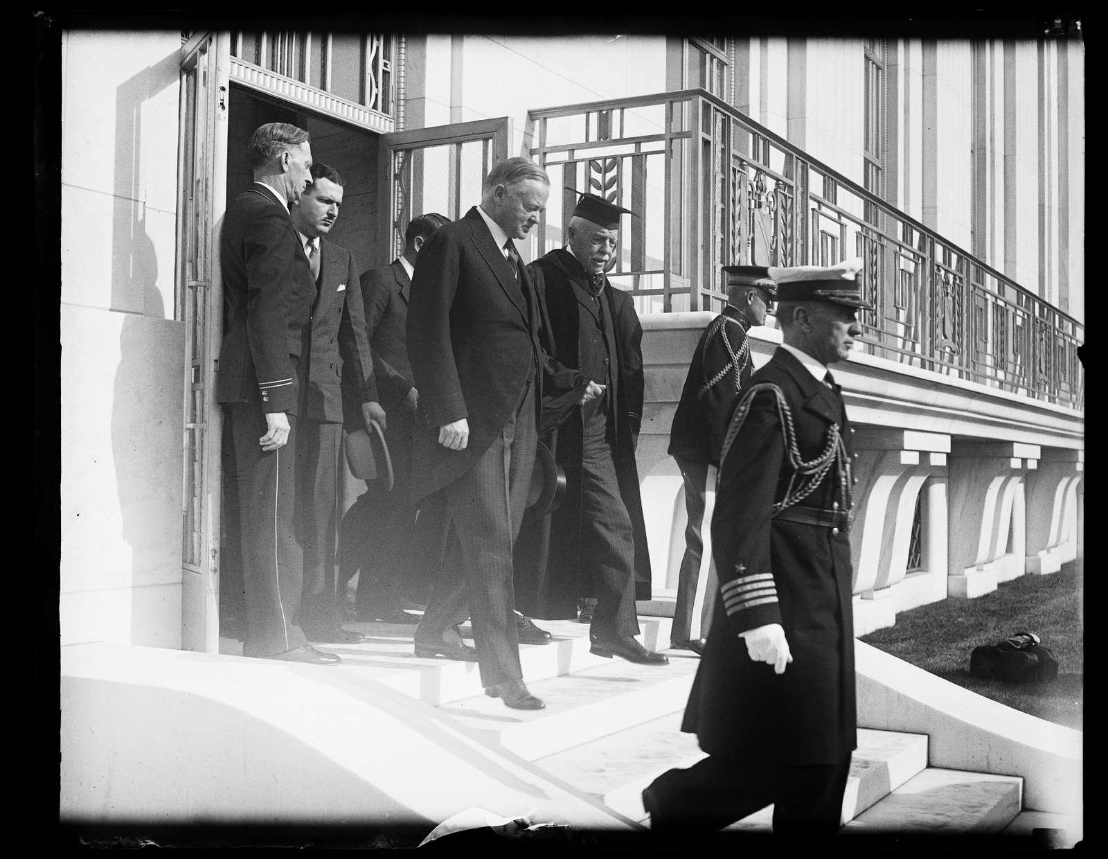 Herbert Hoover exiting Folger Shakespeare Library, Washington, D.C.