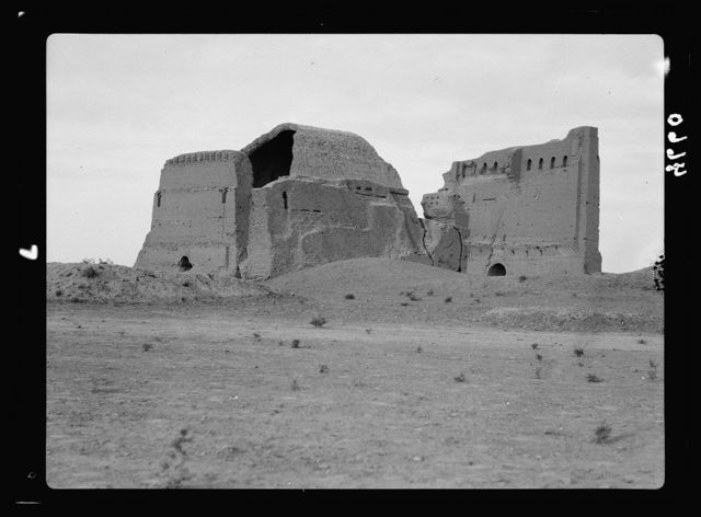 """Iraq. Arch of Ctesiphon. """"The wonder arch of the east."""" From the S. A back view"""