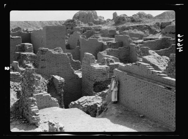 "Iraq. Babylon ""the great."" Various views of the crumbling ruins. Among the great palaces"
