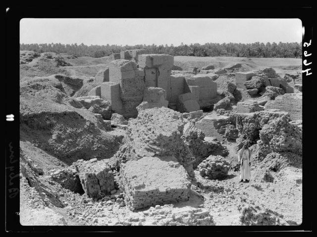 "Iraq. Babylon ""the great."" Various views of the crumbling ruins. Massive brick buildings"
