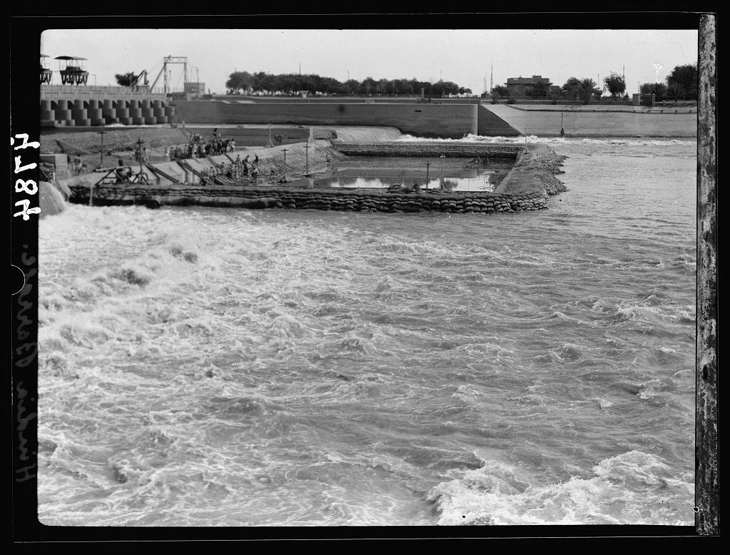 Iraq. Hindiyah Barrage. About 48 miles S.E. of Baghdad. Below the dam looking across the water