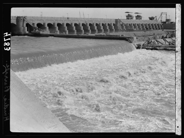 Iraq. Hindiyah Barrage. About 48 miles S.E. of Baghdad. Foaming waters coming through the sluices