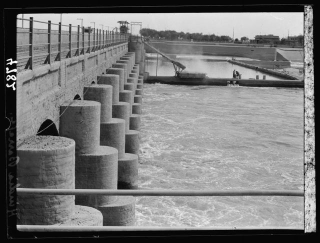 Iraq. Hindiyah Barrage. About 48 miles S.E. of Baghdad looking along the river dam
