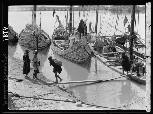 Iraq. Hindiyah Barrage. About 48 miles S.E. of Baghdad. Picturesque river boats elaborately painted