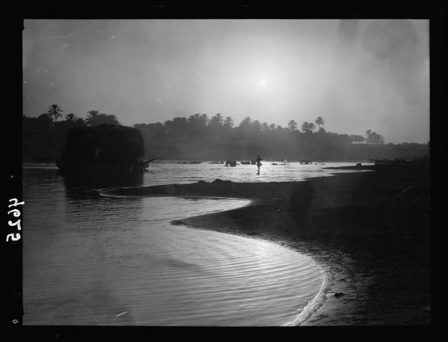 Iraq. (Mesopotamia). Baghdad. River scenes on the Tigris. The Tigris. Sunset sheen on the river