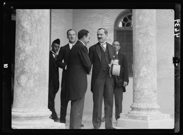 Iraq. (Mesopotamia). Celebration of Iraq becoming member of the League of Nations, Oct. 6, 1932. Baghdad. Sir Humphrey, British Ambassador. Taking leave of the King's Chamberlain at the Palace