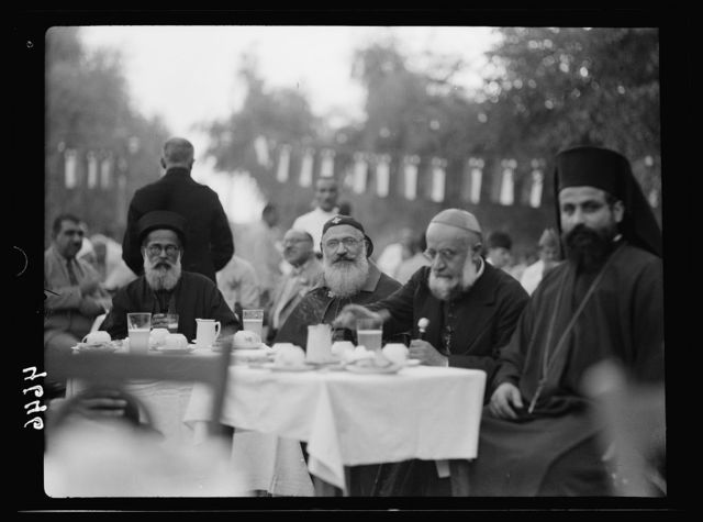 Iraq. (Mesopotamia). Celebration of Iraq becoming member of the League of Nations, Oct. 6, 1932. Baghdad. Maronite Bishop, etc. At the King's reception